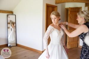 Real Bride Melanie in her Caroline Castigliano bespoke bolero from Sarah Elizabeth Bridal in