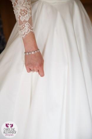 Real Bride Melanie in her Caroline Castigliano bespoke bolero from Sarah Elizabeth Bridal
